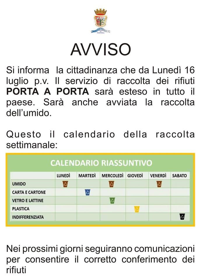 Raccolta Differenziata Palermo Calendario.Comune Di Petralia Sottana Avviso Si Informa La Cittadinanza